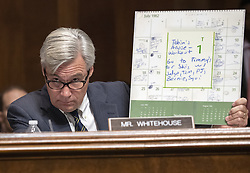 September 28, 2018 - Washington, District of Columbia, U.S. - United States Senator Sheldon Whitehouse (Democrat of Rhode Island) holds a page from the daily diary from July 1982 belonging to Judge Brett Kavanaugh as he makes an opening statement during the US Senate Committee on the Judiciary meeting to vote on the nomination of Judge Brett Kavanaugh to be Associate Justice of the US Supreme Court to replace the retiring Justice Anthony Kennedy on Capitol Hill in Washington, DC on Friday, September 28, 2018.  If the committee votes in favor of Judge Kavanaugh then it goes to the full US Senate for a final vote  (Credit Image: © Ron Sachs/CNP via ZUMA Wire)
