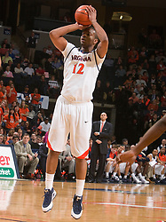 Virginia forward Jamil Tucker (12) shoots a jump shot against Miami.  The Virginia Cavaliers fell to the Miami Hurricanes 62-55 at the John Paul Jones Arena on the Grounds of the University of Virginia in Charlottesville, VA on February 26, 2009.