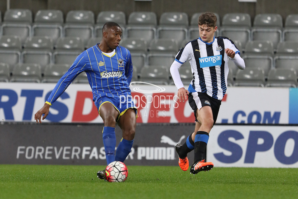 Toysi Olusanya of AFC Wimbledon during the FA Youth Cup match between Newcastle United and AFC Wimbledon at St. James's Park, Newcastle, England on 6 January 2016. Photo by Stuart Butcher.
