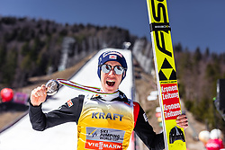 24.03.2019, Planica, Ratece, SLO, FIS Weltcup Ski Sprung, Skisprung, Finale, Siegerehrung, Gesamtweltcupwertung, im Bild 2. Platz Gesamtweltcup Stefan Kraft (AUT) // 2nd placed oveerall Worldcup Stefan Kraft of Austria during the allover winner Ceremony for the FIS Ski Jumping World Cup Final 2019. Planica in Ratece, Slovenia on 2019/03/24. EXPA Pictures © 2019, PhotoCredit: EXPA/ JFK