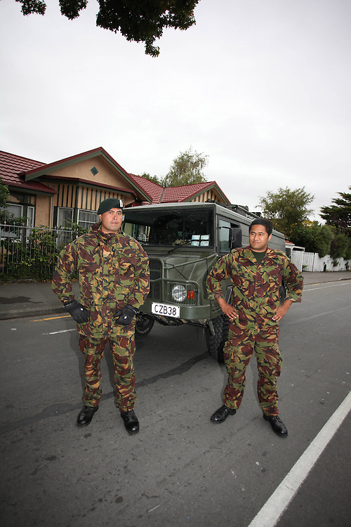 Privates Ko Haapu and Luke Hereora from Burnham military camp on a cordon around the central city after the 6.3 earthquake, Chritschurch, New Zealand, Tuesday, February 22, 2011. Credit:SNPA/Pam Johnson