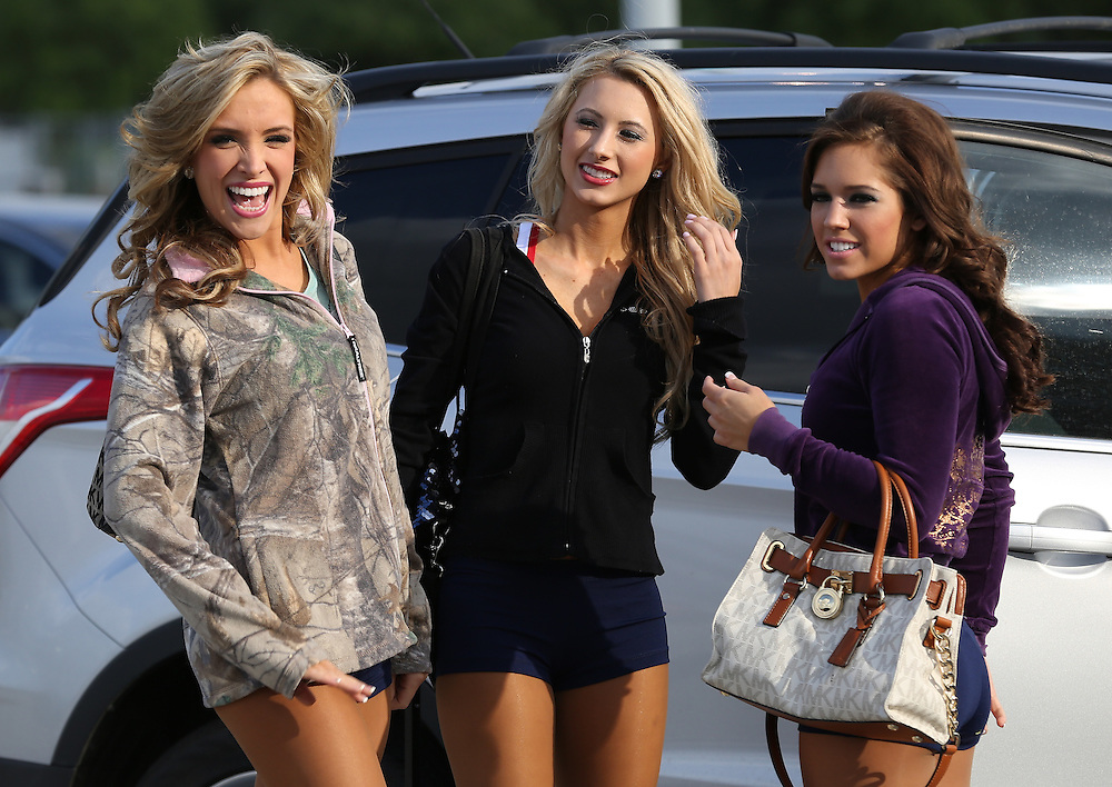 4/16/2014: Left to right, Rachel H., Brittany M. and Sarah Mueller talk before finding out if they made the team.  Fifty girls showed up on April 16, 2014 at the Houston Texans practice facility in Houston, Texas to see which 35 girls made the 2014-2015, Houston Texans Cheerleading Team.