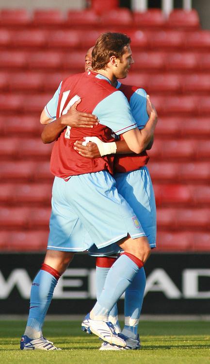 Photo: Mark Stephenson.<br /> Stoke City v Aston Villa. Pre Season Friendly. 01/08/2007.<br /> Villa's Patrick Berger (no 14 ) celebrates his goal with team mate Nigal Reo-Coker