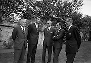 22/07/1967<br /> 07/22/1967<br /> 22 July 1967<br /> Reception at the Indian Embassy for Cricket team. The Indian team was on a tour of the British Isles and had played and beaten the Irish team the day before. Second from right is Mansur Ali Khan Pataudi, (Nawab of Pataudi) captain of the Indian cricket team. Included are l-r:<br /> Jimmie Boucher (Belvedere College and Phoenix CC), Alec O'Riordan (Belvedere College and Old Belvedere CC).