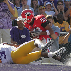 25 October 2008:  Georgia wide receiver Kenneth Harris (88) pulls in a touchdown reception in front of LSU safety Chad Jones (3) during the Georgia Bulldogs 52-38 victory over the LSU Tigers at Tiger Stadium in Baton Rouge, LA.