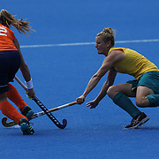 Dutch player Lidewij Welten on the attack during the Australia V Holland women's hockey warm up match on the main hockey arena at Olympic Park, Stratford during the London 2012 Olympic games preparation at the London Olympics. London, UK. 22nd July 2012. Photo Tim Clayton