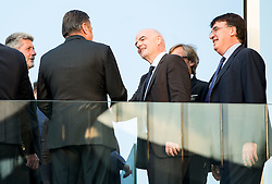 Drago Cotar of NK Maribor, Zoran Jankovic, Mayor of Ljubljana,  Gianni Infantino, president of FIFA  and Theodore Theodoridis, General Secretary of UEFA during Official opening of the Slovenian National football centre Brdo (Nacionalni nogometni center Brdo), on May 6, 2016, in Brdo pri Kranju, Slovenia. Photo by Vid Ponikvar / Sportida