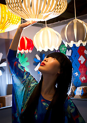 Repro Free: 20/01/2012.Pictured at the opening of Showcase 2013 are models Yomiko (wearing a Hummingbird printed Kimono by Jennifer Rothwell and butterfly necklace by Pluck and Devour) and showcasing the best of fashion from leading Irish designers and homewear this week at Ireland's largest international trade fair. Showcase takes place at the RDS from Sunday 20th to Wednesday 23rd January. For more information visit www.showcase .com. Picture Andres Poveda