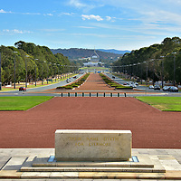 Anzac Parade from Australian War Memorial in Canberra, Australia<br />
