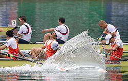 Rowers of fourth placed team of China during Men's Eight in finish area during Final A at Rowing World Cup  on May 30, 2010, at Bled's lake in Zaka, Bled, Slovenia. (Photo by Vid Ponikvar / Sportida)