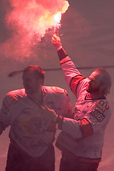 Andrej Hebar of Acroni Jesenice (R) and Miha Rebolj of Acroni Jesenice celebrate at 6th Round of ice-hockey Slovenian National Championships match between HDD Tilia Olimpija and HK Acroni Jesenice, on April 2, 2010, Hala Tivoli, Ljubljana, Slovenia.  Acroni Jesenice won 3:2 after overtime and became Slovenian National Champion 2010. (Photo by Vid Ponikvar / Sportida)