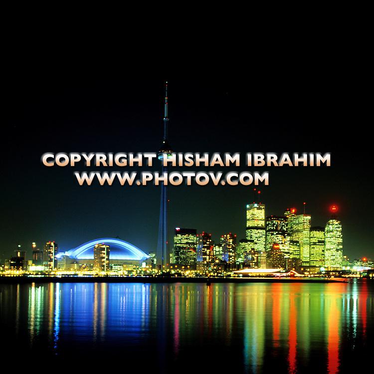 Toronto skyline at night, Toronto, Canada.