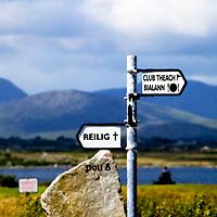 Galway, Ireland, golf club, reilig, club house, mountain, sea, rock, sign post