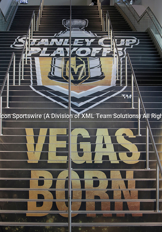 LAS VEGAS, NV - APRIL 11: A general view of the stairs leading to the mezzanine level before Game One of the Western Conference First Round of the 2018 NHL Stanley Cup Playoffs between the L.A. Kings and the Vegas Golden Knights Wednesday, April 11, 2018, at T-Mobile Arena in Las Vegas, Nevada. (Photo by: Marc Sanchez/Icon Sportswire)