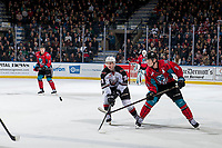 KELOWNA, CANADA - MARCH 16:  Lukas Svejkovsky #28 of the Vancouver Giants fails to block a pass by Kaedan Korczak #6 of the Kelowna Rockets on March 16, 2019 at Prospera Place in Kelowna, British Columbia, Canada.  (Photo by Marissa Baecker/Shoot the Breeze)