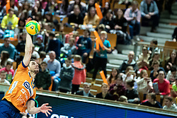 Vilimanovic Andrjia of ACH Volley serving during volleyball match between ACH Volley Ljubljana (SLO) and Kuzbas Kemerevo (RUS) n 2nd Round, group B of 2019 CEV Volleyball Champions League, on December 11, 2019 in Hala Tivoli, Ljubljana, Slovenia. Grega Valancic / Sportida