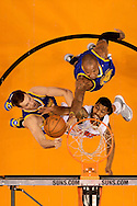 Dec 15, 2013; Phoenix, AZ, USA; Golden State Warriors forward Marreese Speights (5) shoots the ball along side teammate forward David Lee (10) and against Phoenix Suns forward Markieff Morris (11) in the first half at US Airways Center. The Suns won 106-102. Mandatory Credit: Jennifer Stewart-USA TODAY Sports