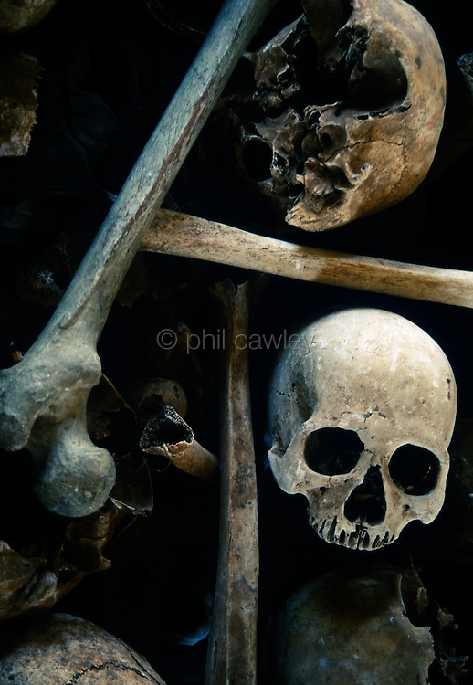 Sculls and bones at Toul Sleng the former Khmer Rouge prison S 21
