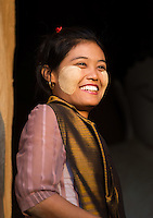 BAGAN, MYANMAR - CIRCA DECEMBER 2013: Young Burmese woman smiling in Bagan