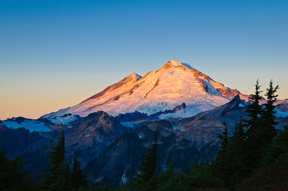 Mount Baker at sunrise from Kulshan Ridge at Artist Point; Cascade Mountains, Washington.