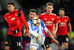 Tommy Smith of Huddersfield Town challenges Jesse Lingard of Manchester United - Mandatory by-line: Matt McNulty/JMP - 17/02/2018 - FOOTBALL - The John Smith's Stadium - Huddersfield, England - Huddersfield Town v Manchester United - Emirates FA Cup Fifth Round