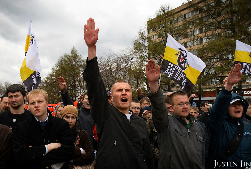"Russian Neo-Nazis chant ""sieg heil"" in Moscow during a demonstration to celebrate Hitler?s birthday. Russia is experiencing a surge of extremism, sometimes resulting in violent attacks on foreigners."