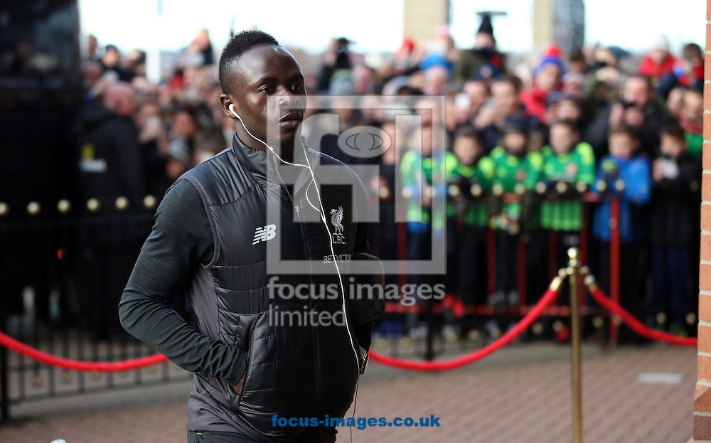 The Liverpool team arrive including Sadio Mane prior to the Premier League match between Sunderland and Liverpool at the Stadium Of Light, Sunderland<br /> Picture by Christopher Booth/Focus Images Ltd 07711958291<br /> 02/01/2017