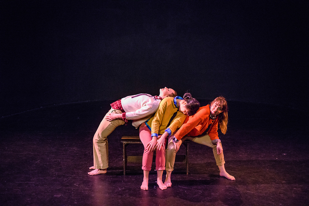 Tech rehearsal of Baltimore modern dance company The Collective's annual concert &quot;Senses&quot; at the Baltimore Theatre Project April 17, 2018. <br /> &quot;Timeless Moments Intimate Portrait Studio (TMI, p.s.),&quot; choreography by Samantha Hopkins featuring Natalie Boegel, Adrienne Kraus Latanishen, and Kristen Yeung<br /> <br /> <br /> CREDIT: Matt Roth