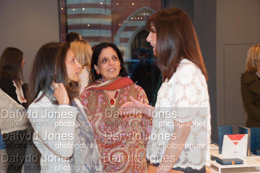 MRS AIDEN BARCLAY; MONICA BURMAN; SAMANTHA CAMERON, Smythson Sloane St. Store opening. London. 6 February 2012.