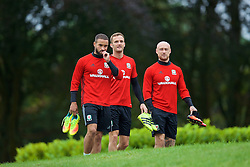 CARDIFF, WALES - Friday, September 2, 2016: Wales' Ashley 'Jazz' Richards, Andy King and David Cotterill during a training session at the Vale Resort ahead of the 2018 FIFA World Cup Qualifying Group D match against Moldova. (Pic by David Rawcliffe/Propaganda)