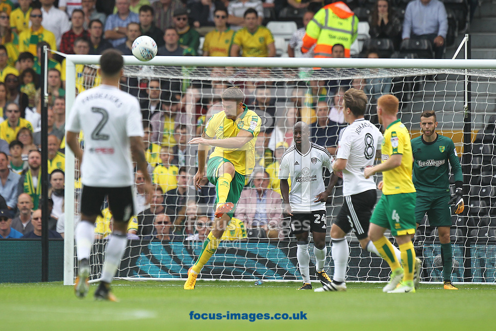 Christoph Zimmermann of Norwich clears the ball during the Sky Bet Championship match at Craven Cottage, London<br /> Picture by Paul Chesterton/Focus Images Ltd +44 7904 640267<br /> 05/08/2017