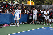 John McEnroe plays at the Nike Youth Tennis  Challenge held at The Nike -Built regulation Tennis Court  on West 23rd Street & Broadway in New York  City . ..Hundreds of tennis fans and youth form New York  Parks and Rec. Athlethes for Charity, and Mentoring USA are treating to tips and guidance from Tennis Pros Roger Federer, Rafael Nadal and Serena Williams...