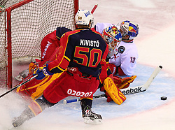 18.12.2011, Albert Schultz Halle, Wien, AUT, European Trophy, Finale, Jokerit vs EC Red Bull Salzburg, im Bild Tommi Kivisto, (Jokerit, #50), Frans Tuohimaa, (Jokerit, #33) und Michael Schiechl, (EC Red Bull Salzburg, #13) , EXPA Pictures © 2011, PhotoCredit: EXPA/ T. Haumer