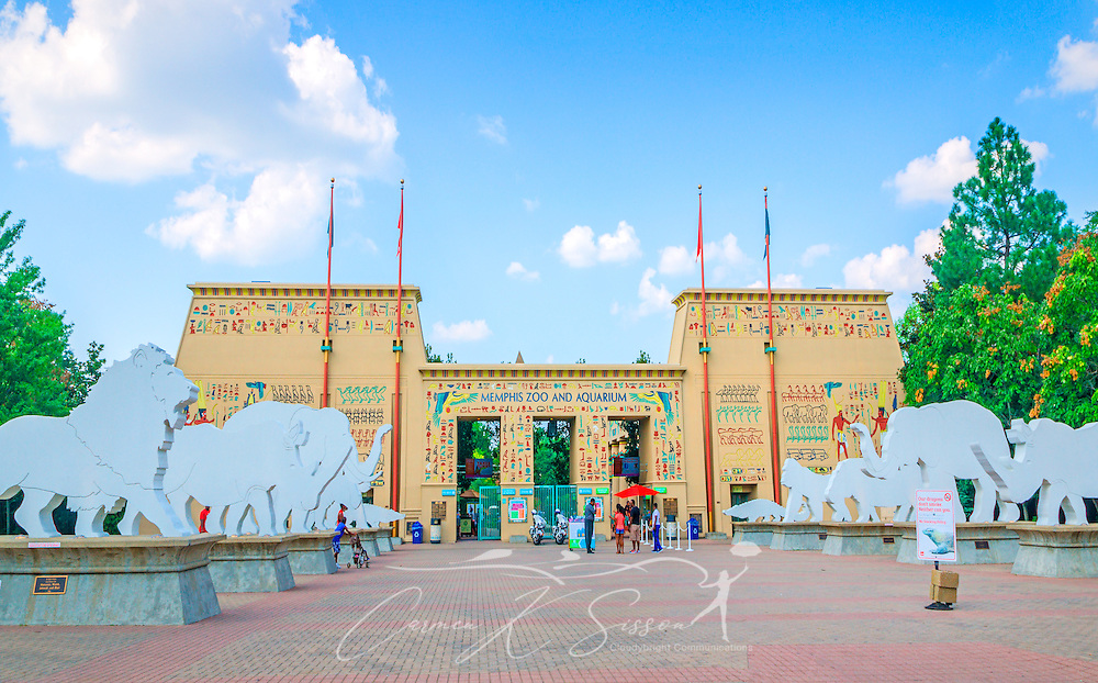 The entrance to the Memphis Zoo is pictured, September 8, 2015, in Memphis, Tennessee. The zoo features more than 3,500 animals representing more than 500 species; it is one of only four zoos in the nation to feature a panda exhibit. (Photo by Carmen K. Sisson/Cloudybright)