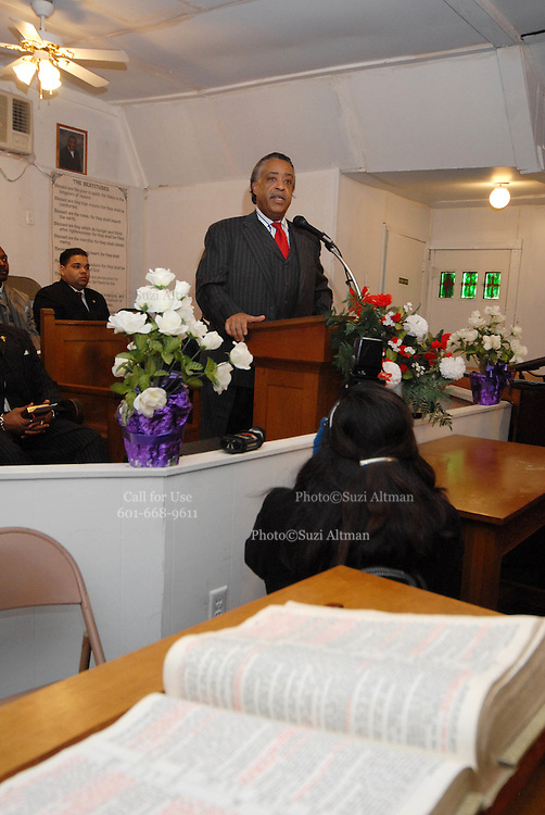 Members of The New Black Panthers Movemant surrounded the interior of the Antioch Baptist Church in Jena Louisiana during Rev. Sharpton's remarks Sunday Jan 20,2008. Reverand Al Sharpton spoke at the Antioch Baptist Church in Jena Louisiana. Sharpton came to Jena the day before Martin Luther King holiday because the Nationalist Movement lead by Richard Barrett is to march on Jena Monday during MLK holiday. The Nationalist movement is coming to Jena in response to the Jena 6 rally last year.(Photo/© Suzi Altman)