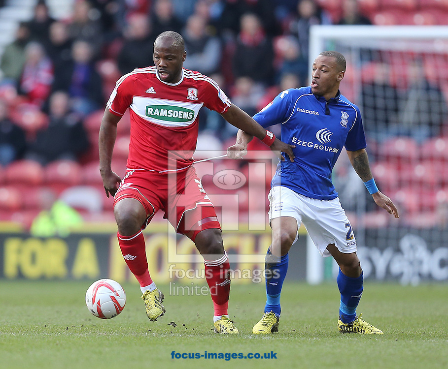 Picture by Paul Gaythorpe/Focus Images Ltd +447771 871632.16/03/2013.Andre Bikey of Middlesbrough and Wesley Thomas of Birmingham City during the npower Championship match at the Riverside Stadium, Middlesbrough.