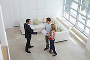 Real estate agent with couple in new home man shaking hand elevated view