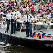 NLD/Amsterdam/20110806 - Canalpride Gaypride 2011, politieboot