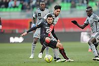 Fotball<br /> Frankrike<br /> 07.02.2015<br /> Foto: Panoramic/Digitalsport<br /> NORWAY ONLY<br /> <br /> Benjamin Andre (Rennes)<br /> Bill Tuiloma (Marseille)<br /> Rennes vs Marseille - Ligue 1