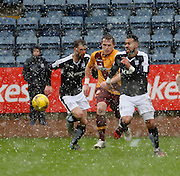 Dundee&rsquo;s Kane Hemmings burst forward in blizzard conditions - Dundee v Motherwell, Ladbrokes Premiership at Dens Park <br /> <br />  - &copy; David Young - www.davidyoungphoto.co.uk - email: davidyoungphoto@gmail.com