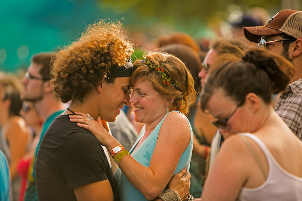 Fans feel the love as the band Lady from Philadelphia, PA performs at Pickathon 2013, a music festival at the Pendarvis Farm just outside of Portland, OR. August 3, 2013  Photo credit: Mick Orlosky