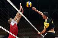 Katowice, Poland - 2017 September 01: (R) Savalan Shahbazov from SO Azerbaijan spikes the ball against (L) partner Peter Buvalic from SO Slovakia while SO Azerbaijan v SO Slovakia match during European Unified Volleyball Tournament 2017 at Spodek Hall on September 01, 2017 in Katowice, Poland.<br /> <br /> Adam Nurkiewicz declares that he has no rights to the image of people at the photographs of his authorship.<br /> <br /> Picture also available in RAW (NEF) or TIFF format on special request.<br /> <br /> Any editorial, commercial or promotional use requires written permission from the author of image.<br /> <br /> Image can be used in the press when the method of use and the signature does not hurt people on the picture.<br /> <br /> Mandatory credit:<br /> Photo by © Adam Nurkiewicz / Mediasport