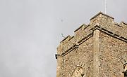 Lightning rod and conductor on church tower, Shottisham, Suffolk, England
