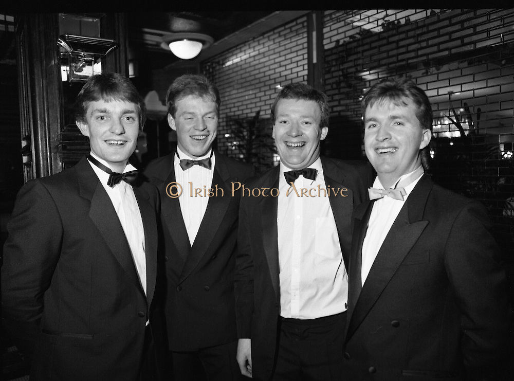 "B.O.I. GAA Allstars  (R96)..1989..03.02.1989..02.03.1989..3rd February 1989..The Awardsfor the B.O.I.Allstars were held tonight in the Burlington Hotel,Dublin. The list of the winnersis as follows..1989 - HURLING ALL STARS J. Commins (Galway), A. Fogarty (Offaly), E. Cleary (Wexford), D. Donnelly (Antrim), Conal Bonnar (Tipperary), B. Ryan (Tipperary), S. Treacy (Galway), M. Coleman (Galway), D. Carr (Tipperary), E. Ryan (Galway), Joe Cooney (Galway), O. McFetridge (Antrim), P Fox (Tipperary), Cormac Bonnar (Tipperary), N. English (Tipperary)."" 1989 - FOOTBALL ALL STARS Gabriel Irwin (Mayo), Jimmy Browne (Mayo), Gerry Hargan (Dublin), Dermot Flanagan (Mayo); Connie Murphy (Kerry), Conor Counihan (Cork), Anthony Davis (Cork); Teddy McCarthy (Cork), Willie Joe Padden (Mayo); Dave Barry (Cork) Larry Tompkins (Cork), Noel Durkin (Mayo); Paul McGrath (Cork), Eugene McKenna (Tyrone), Tony McManus (Roscommon).""..Pictured at the Allstars Event were hurling alstars, Bobby  Ryan, Tipperary, Declan Ryan, Tippwrary, Nicholas English, Tipperary and Tony O'Sullivan, Cork."