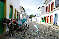 Horse and carriage on the cobblestone streets of Paraty, Brazil.