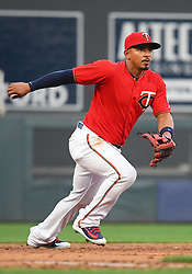 May 18, 2018 - Minneapolis, MN, U.S. - MINNEAPOLIS, MN - MAY 18: Minnesota Twins Infield Eduardo Escobar (5) tracks a ground ball during a MLB game between the Minnesota Twins and Milwaukee Brewers on May 18, 2018 at Target Field in Minneapolis, MN. The Brewers defeated the Twins 8-3.(Photo by Nick Wosika/Icon Sportswire) (Credit Image: © Nick Wosika/Icon SMI via ZUMA Press)