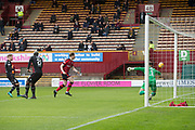 28th April 2018, Fir Park, Motherwell, Scotland; Scottish Premier League football, Motherwell versus Dundee; Craig Wighton of Dundee heas wide in the opening moments of the match