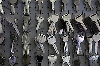 Keys hanging on hooks in store