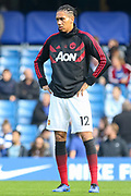 Manchester United Defender Chris Smalling in warm up during the Premier League match between Chelsea and Manchester United at Stamford Bridge, London, England on 20 October 2018.