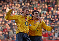 Photo: Glyn Thomas.<br />Charlton Athletic v Arsenal. The Barclays Premiership.<br />26/12/2005.<br />Arsenal's Jose Antonio Reyes (R) celebrates after giving his team a 1-0 lead with Alexander Hleb (L).